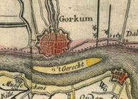 History Trips | Castle Loevestein on map, 1645